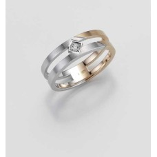 Ring- Gold-585/- Weiß/Rot - BRILL. 0,025 Ct. w/si - 5,25 g