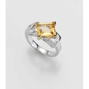 Ring- Gold-585/- Gelb/Weiß - E.CITRIN/Brill. 0,033 Ct. w/si - 6,7 g